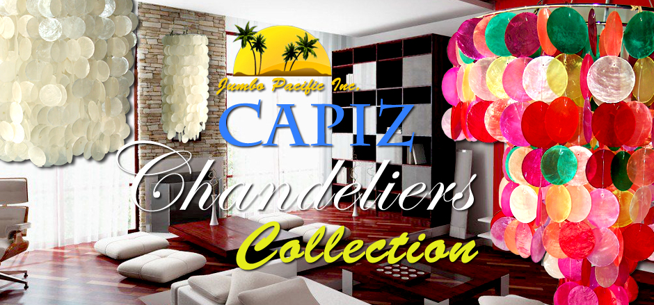 Jumbo Pacific Inc. Raw shell of capiz to home and room decorations to hanging capiz chandeliers.