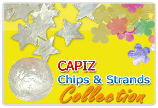 Philippine capiz chips, strand, design, color